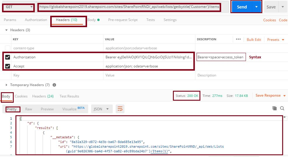 GET list items status 200 OK: Postman tool SharePoint online REST API
