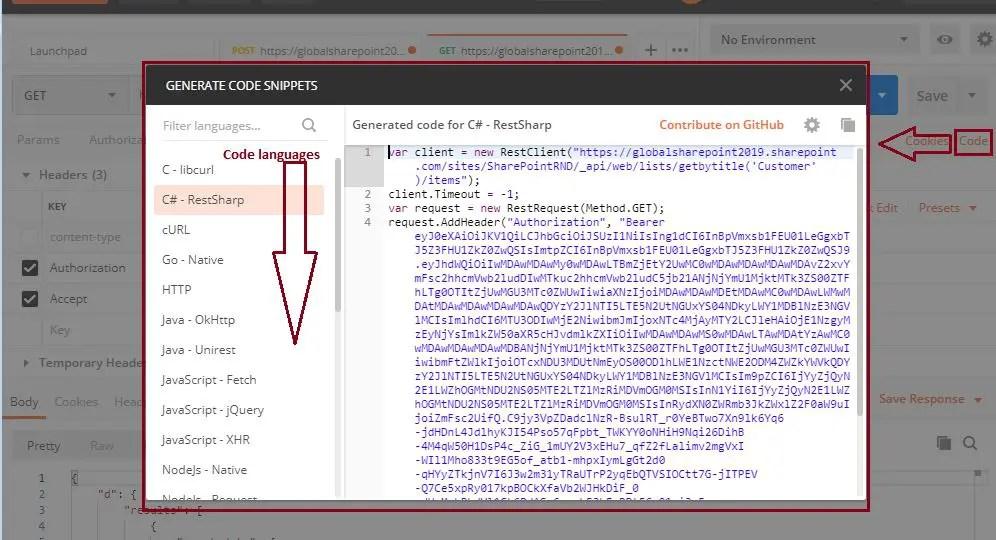 Postman code C#: Generate code snippet postman