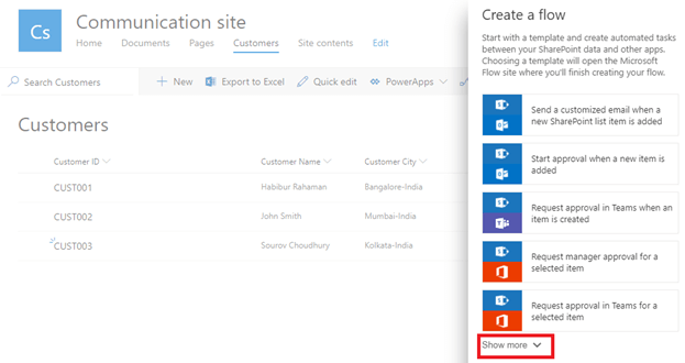 Create a Flow Show More - Create And Format HTML Table Using Microsoft Flow