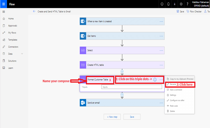 Format HTML table in outlook using Microsoft flow power automate - Rename your default Compose to Format Customer Table