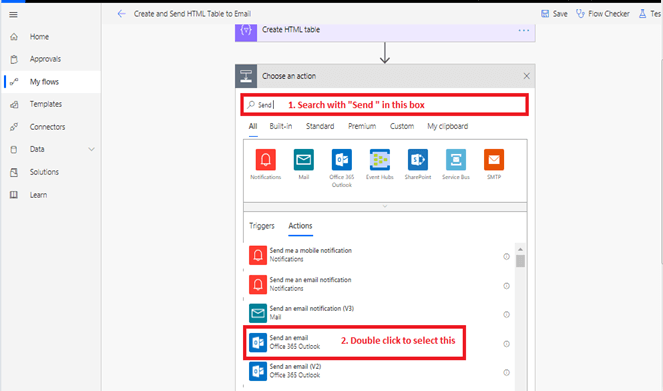 Send an email office 365 outlook in Microsoft flow power automate