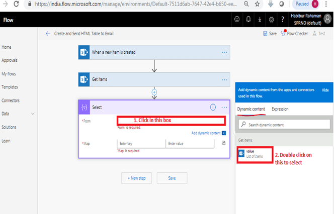 When a new item is created - Get Items in Microsoft Flow, Data Operations, Select Data Operations, Select