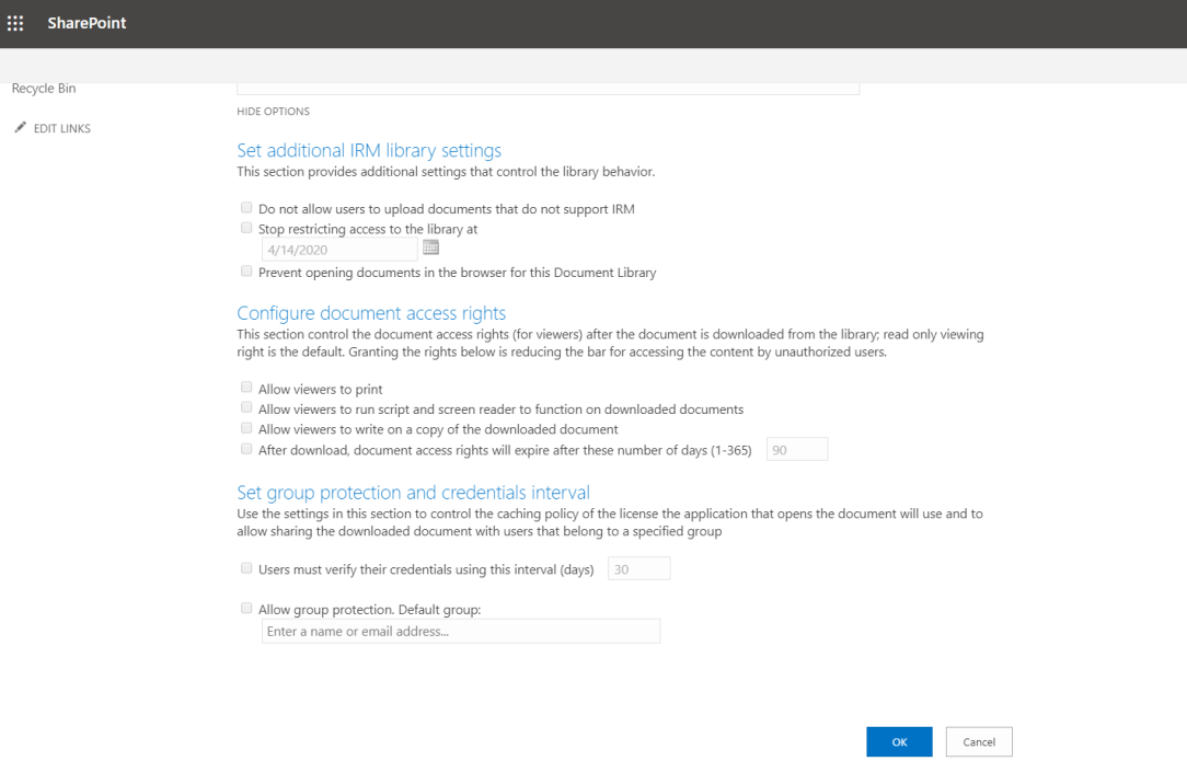 Information Rights Management Settings - Show Options