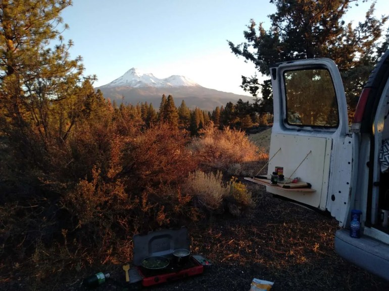 cooking dinner at my van conversion mount shasta views