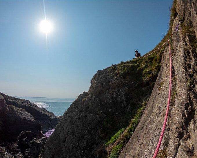 Initiation Slab sea cliff climbing