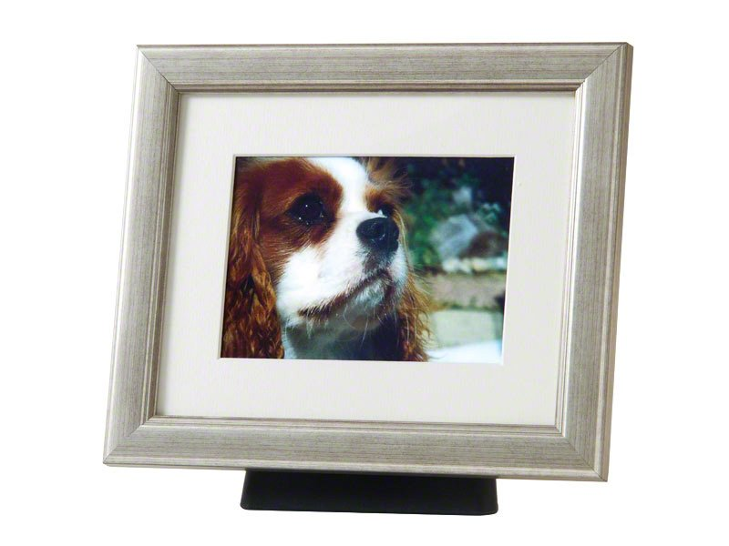 Beautiful discreet photo frame pet urn in Silver. Also available in Black, Pewter, Champagne and Bronze. For pet dog, horse, cat ashes. Can be personalized.