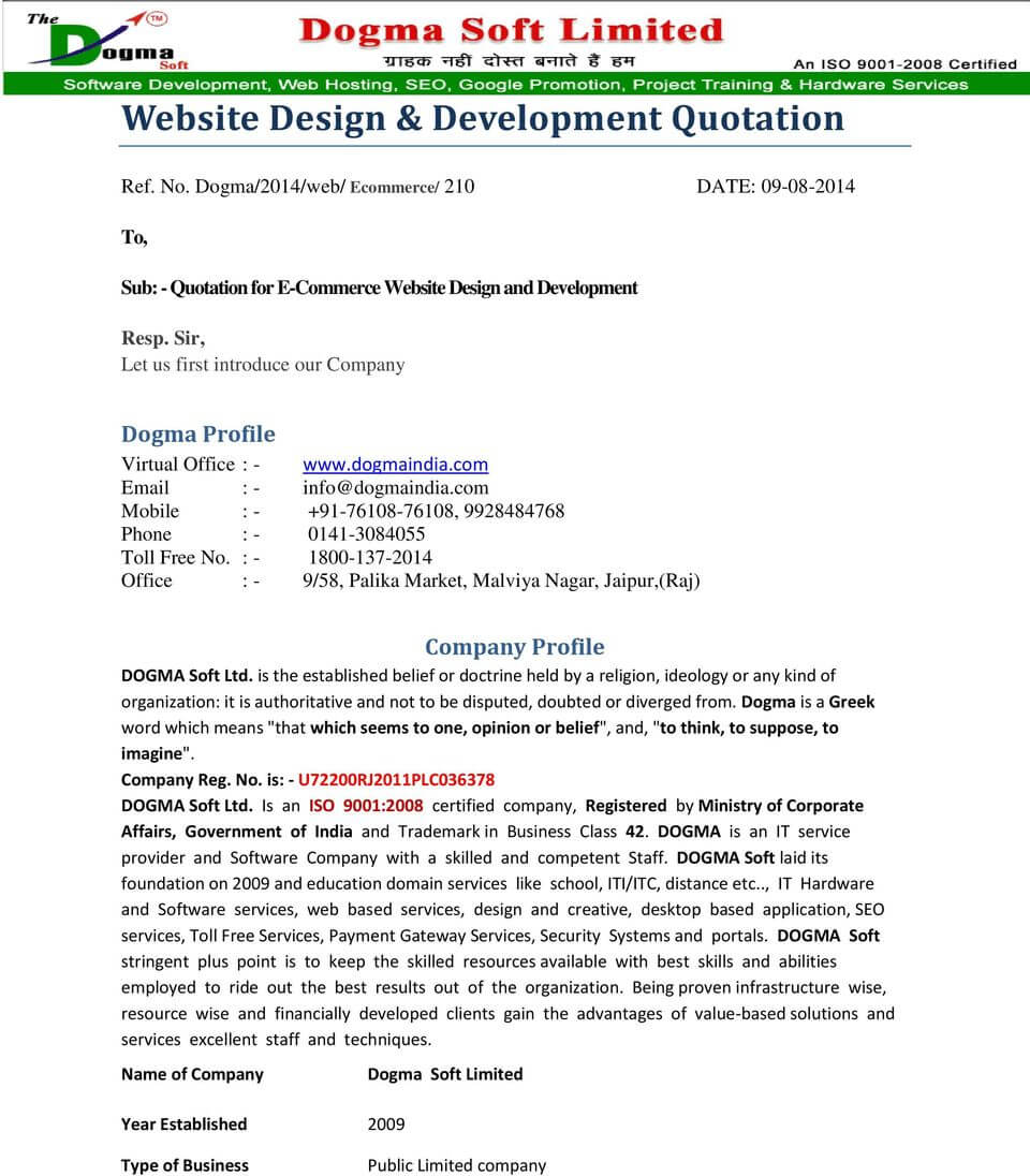 Price quote templates are a convenient, quick, and easy way to customize and keep track of these important transactions. Free Software Development Quotation Template Development Quote Bonsai
