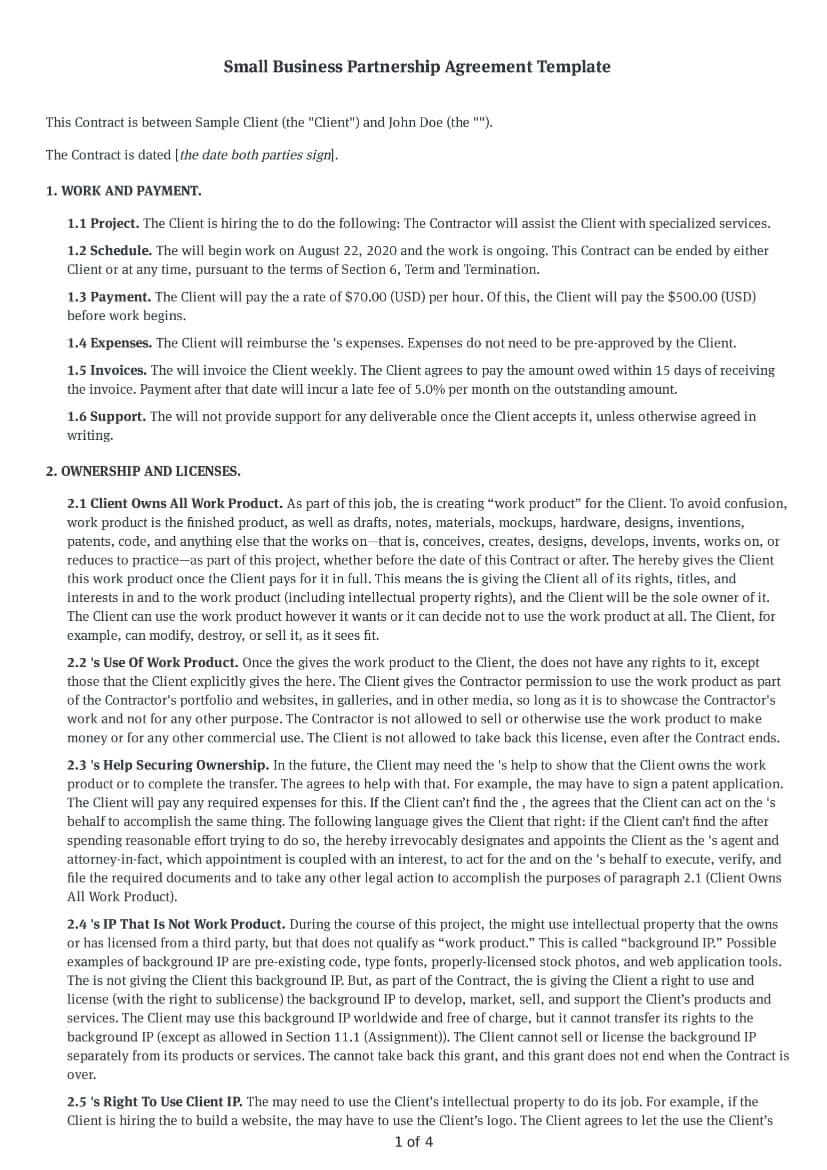 Lead partner (lead partner) and. Free Small Business Partnership Agreement Template Download Bonsai