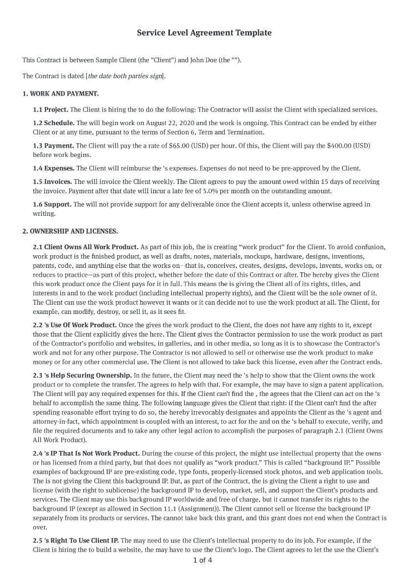Downloads for word, pdf or indesign are also available. Free Service Level Agreement Template Doc Download Bonsai