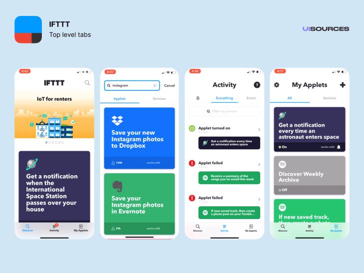 IFTTT - Content Screens Screenshots | UI Sources