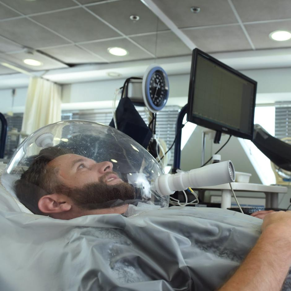 man in a clinic having his metabolism measured