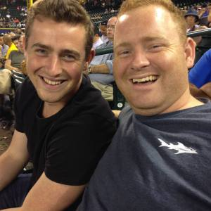 Enjoying a Mariner's baseball game with my older brother Connor.