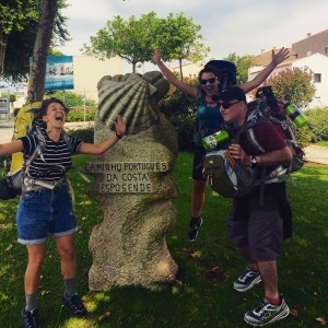 The three leaders on the first day of walking the camino