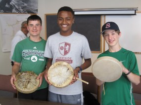 GSL students making drums
