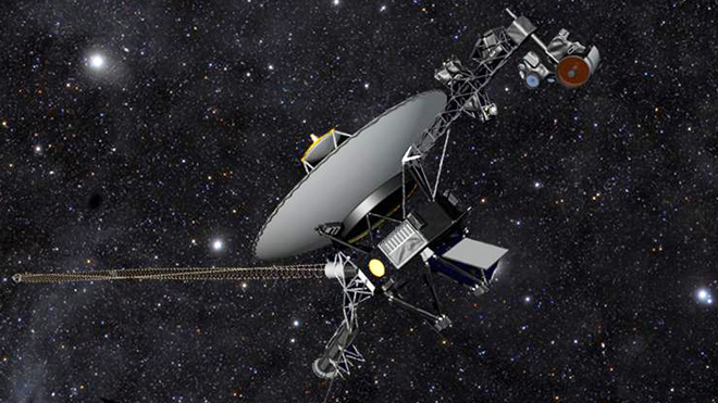 This artist rendering released by NASA shows NASAs Voyager 1 spacecraft barreling through space. (AP)