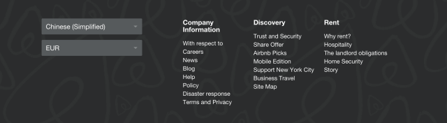Airbnb Footer