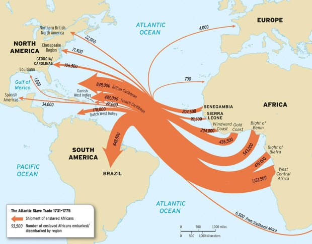 Image result for british slave trade map