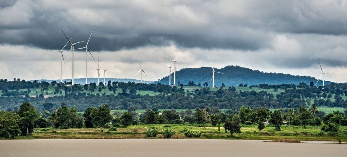 Using sustainable and clean energy sources, like this wind farm in Thailand, reduces air pollution.