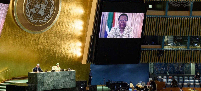 Naledi Pandor, ministre sud-africaine des relations internationales, s'exprime lors de la commémoration de la Journée Nelson Mandela.