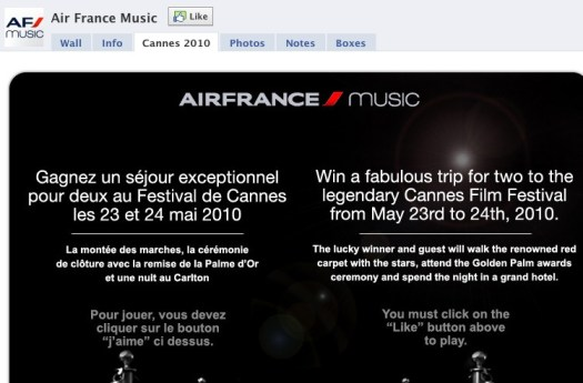 Air France Facebook content - English