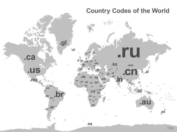 Super-sized wall map of the country codes of the world ...
