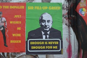 A poster mocking Philip Green