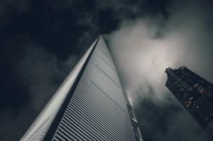 Looming skyscrapers in Shanghai