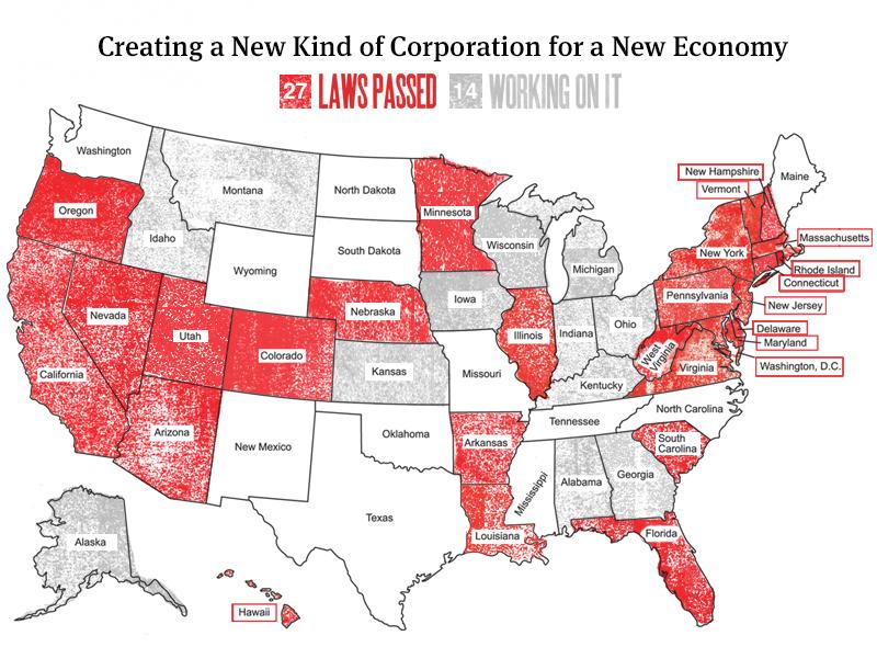 B Corps Legislation Map - Courtesy of benefitcorp.net