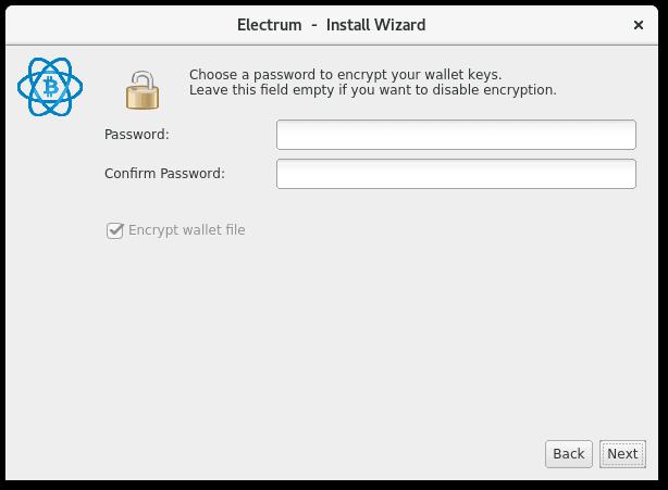 Electrum Setup Screen