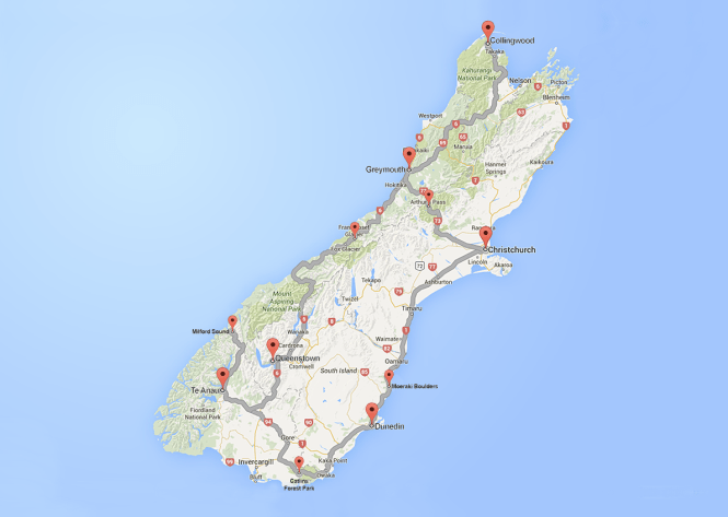 New Zealand road trip map
