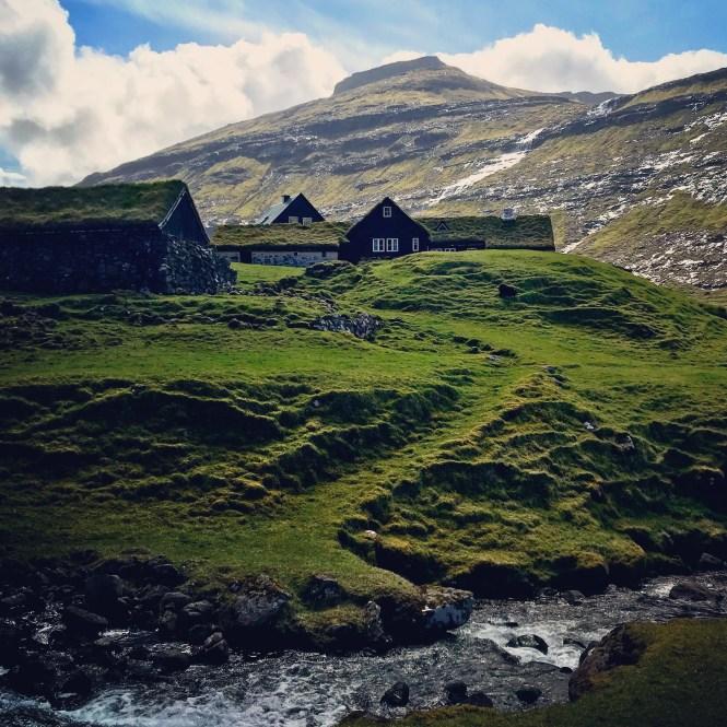 Saksun grass-roofed home