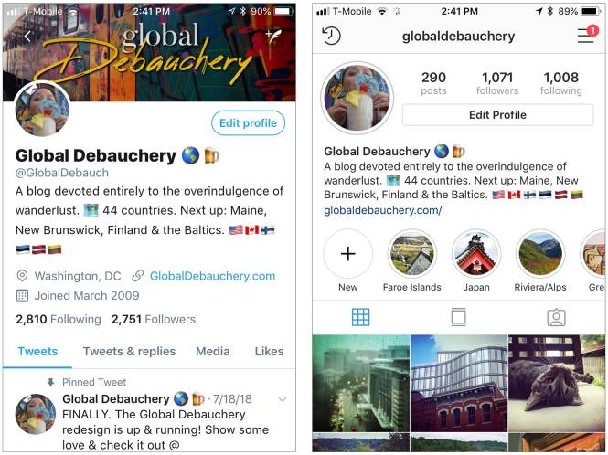 Global Debauchery Twitter and Instagram