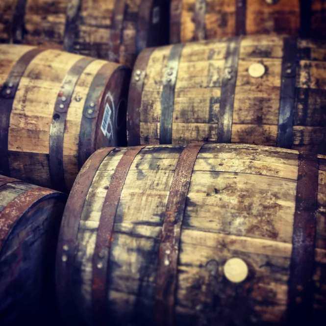 laphroaig scotch barrels in islay scotland