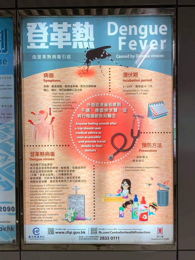 Dengue Fever sign in Hong Kong metro