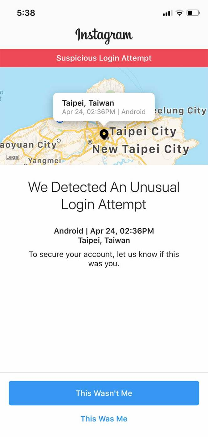 Suspicious login attempt in Taiwan