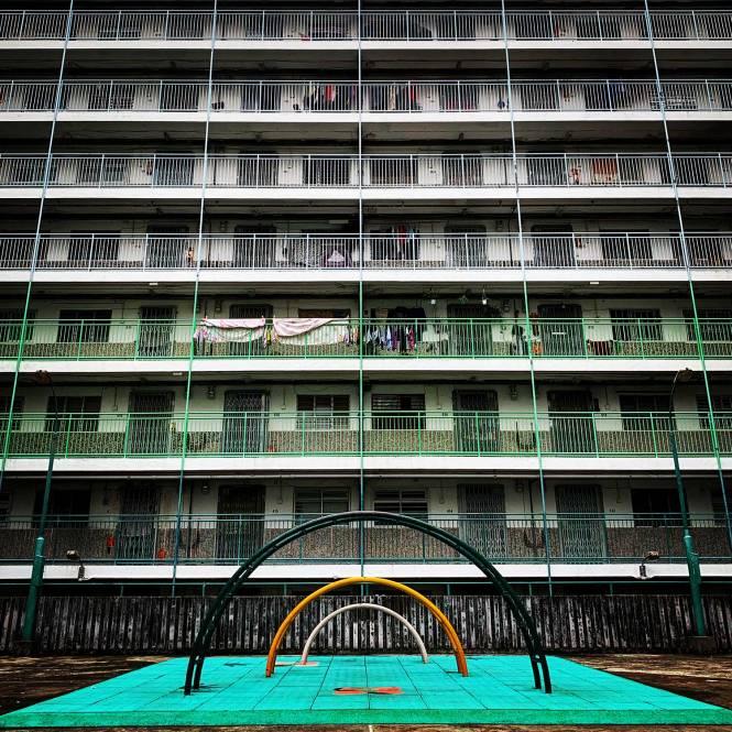 Nam Shan Estate symmetrical playground in Hong Kong
