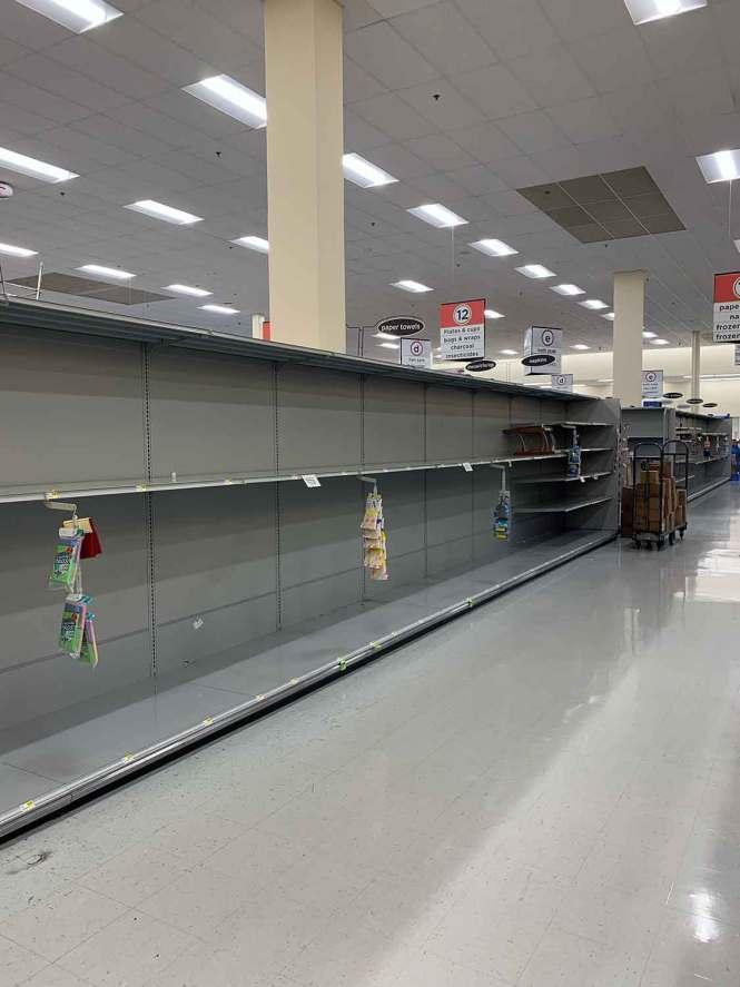 Empty store shelves from Coronavirus panic