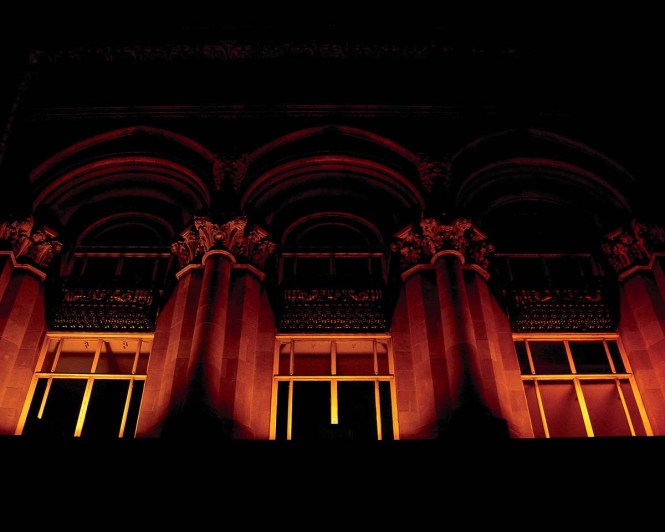 A Dublin building facade at night