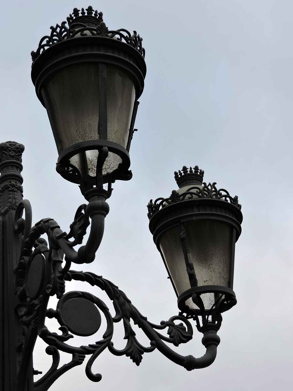 Decorative light post in downtown Ponta Delgada