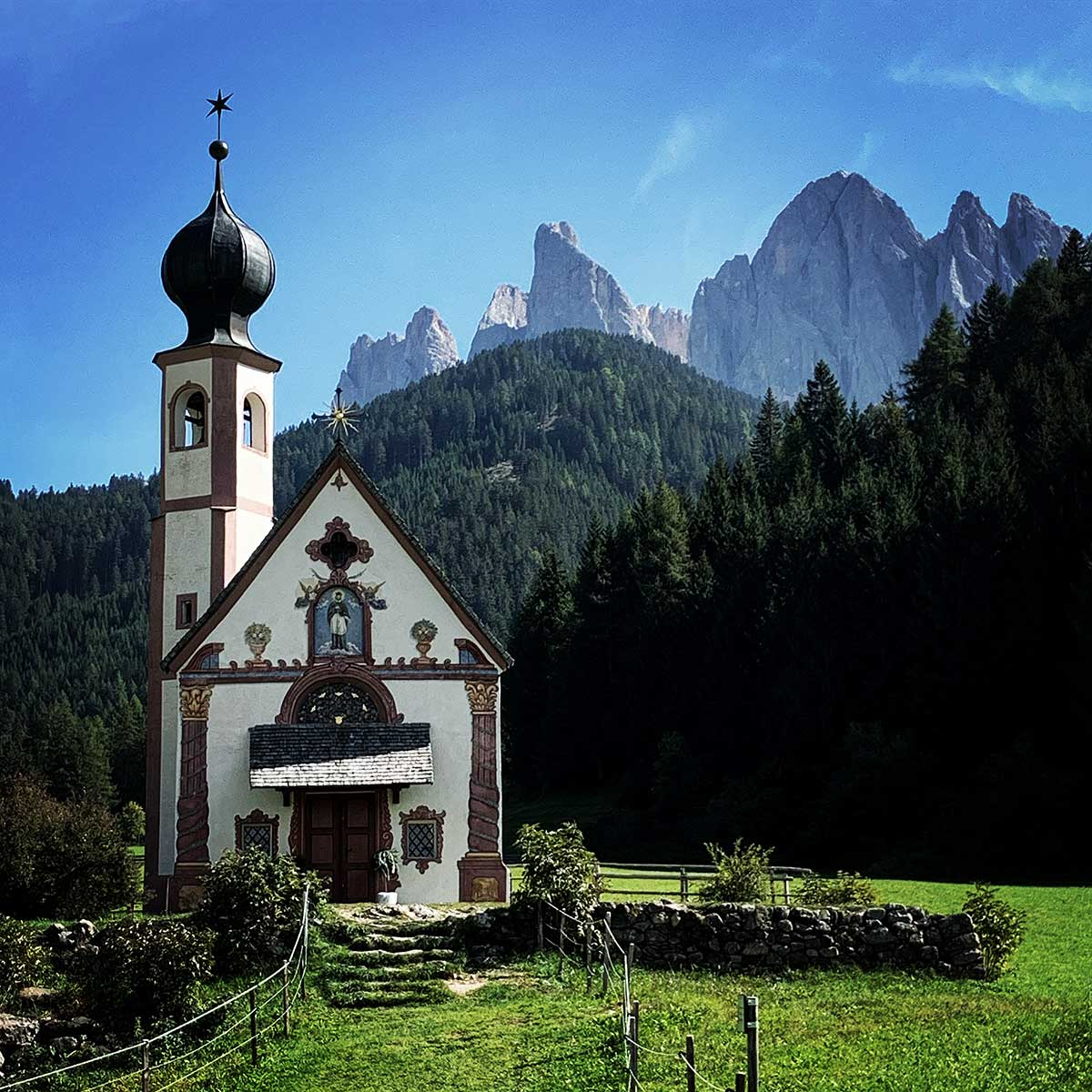 Saint Johann Chapel in Val di Funes, Italy
