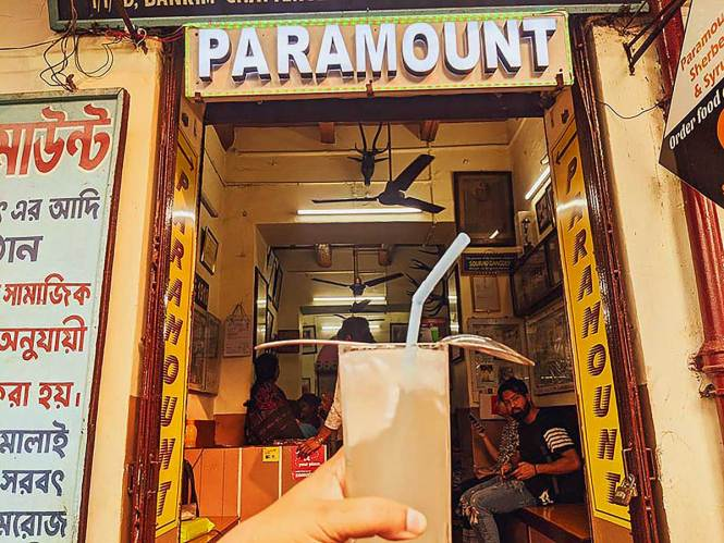 A Daber Sherbet in front of Paramount shop
