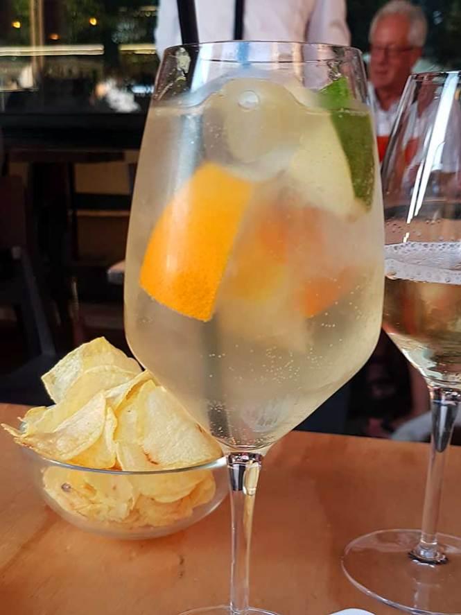 Limoncello Spritz cocktail at a bar
