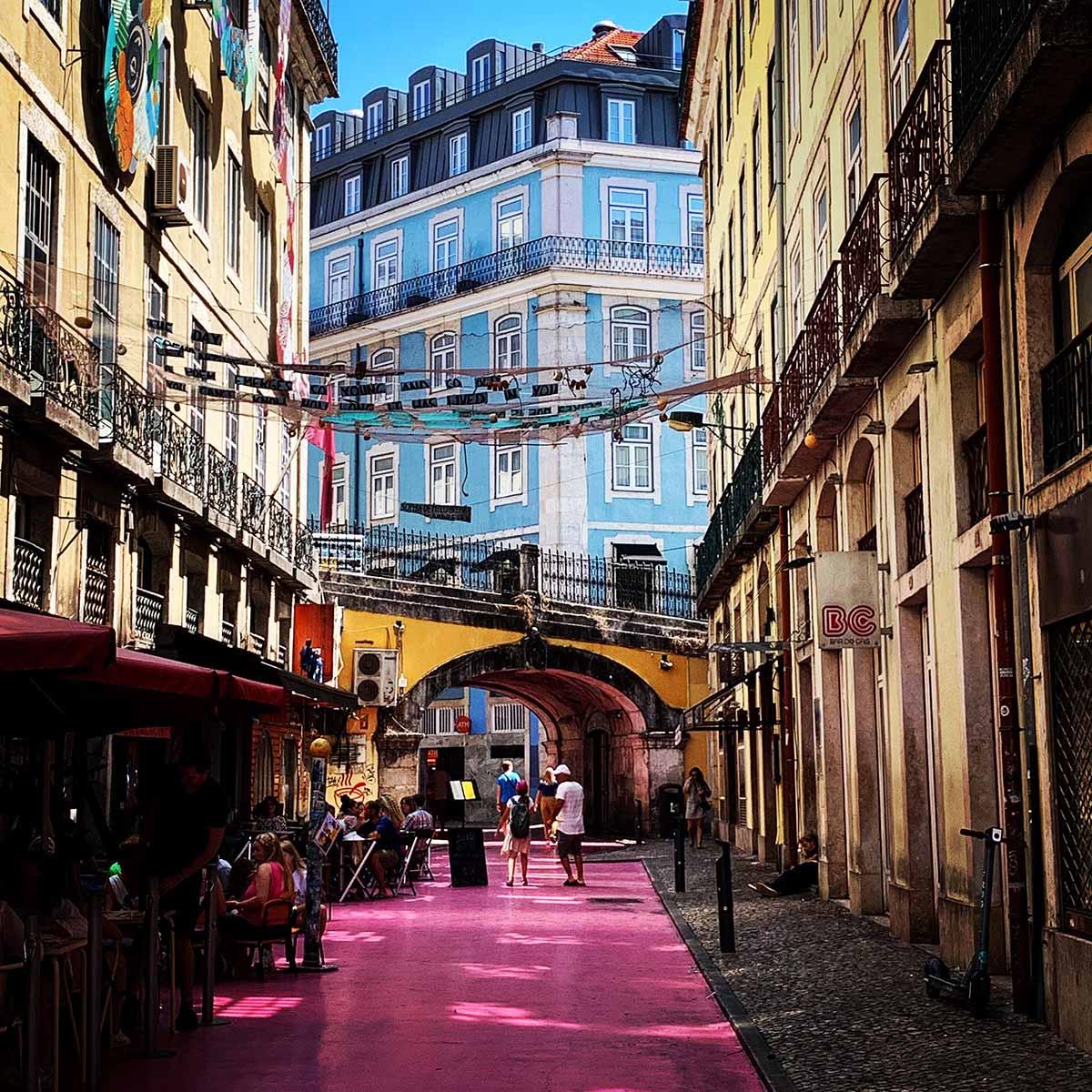 Pink Street in downtown Lisbon
