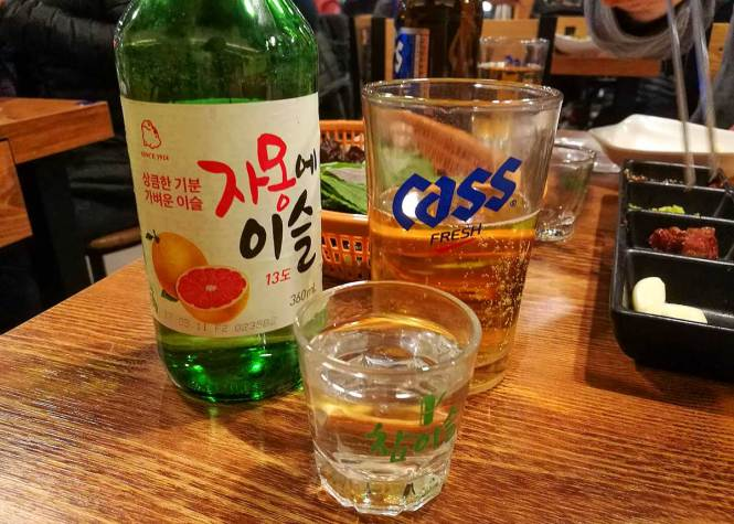 "Soju shot on a table for ""Interesting Liquors from Around the World"""