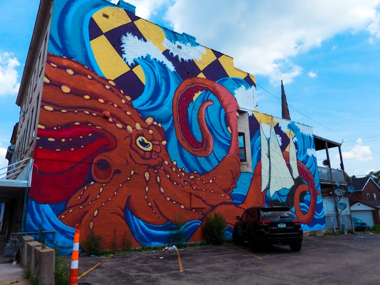 Octopus street art in Dubuque, Iowa, America's Heartland town