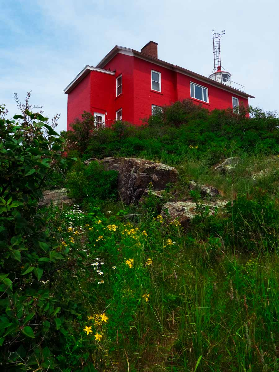 Red lighthouse in Marquette, Michigan