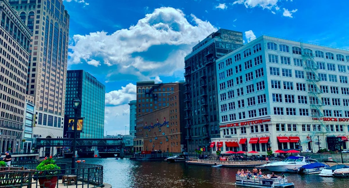 Downtown Milwaukee on our America's Heartland road trip