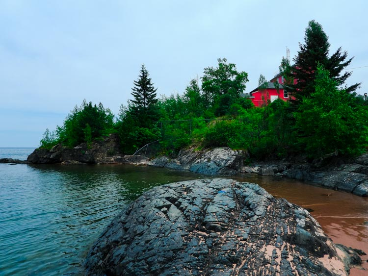 Lighthouse on the rocks in Marquette, Michigan