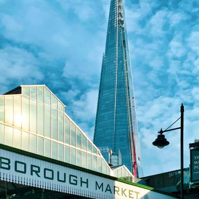 London's Borough Market with the Shard in the background
