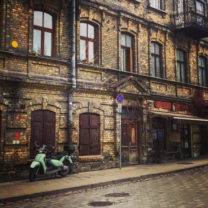 Moped in Uzupis, Vilnius, one of my favorite hidden gems in Europe.